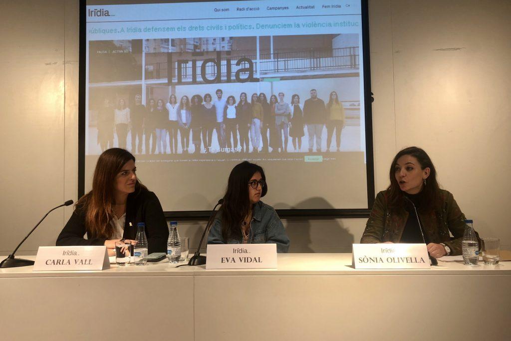 Carla Vall, Eva Vidal i Sònia Olivella. Roda de premsa Col·legi de Periodistes